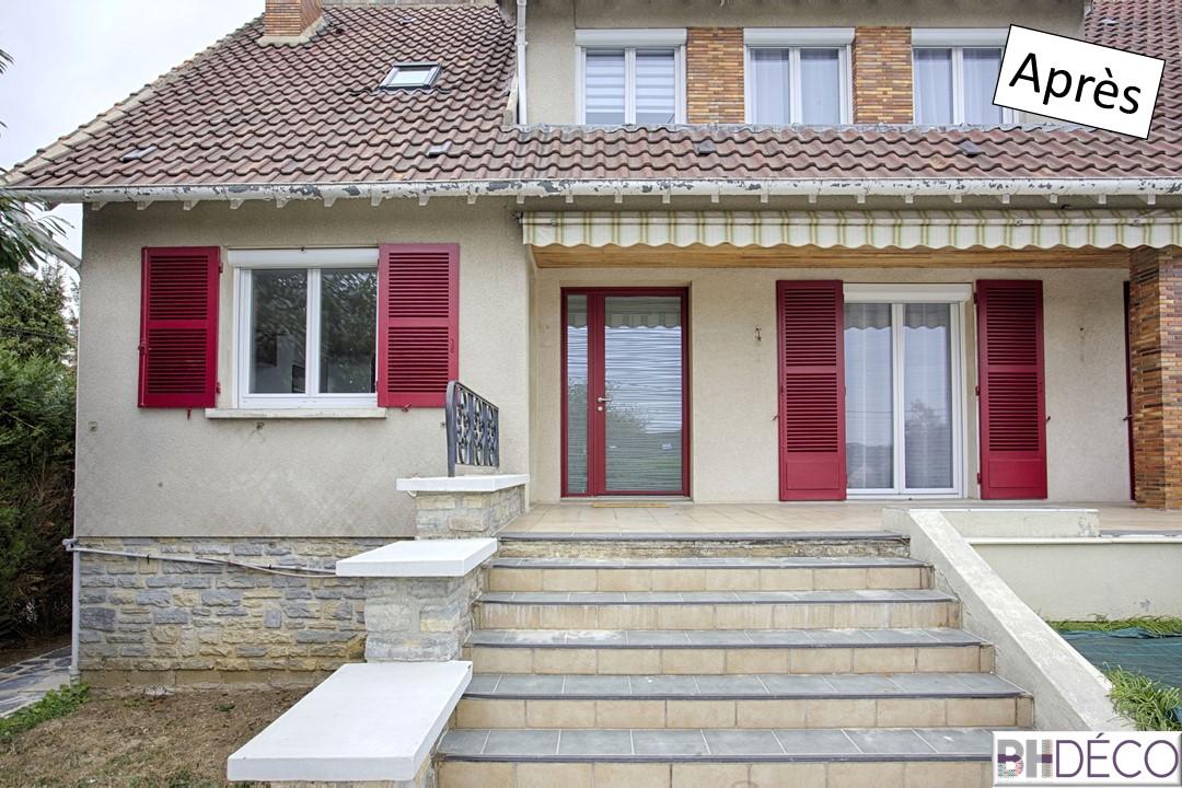 1 - maison années 70 raffraichie - volets, porte rouges - BH-Déco