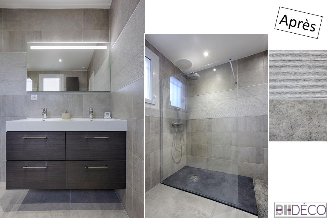 12 - Salle de bain grise et bois wengé douche italienne ouverte - Déco