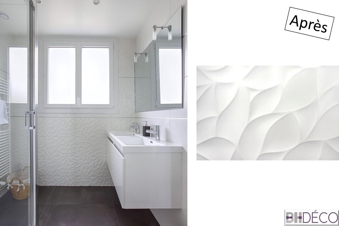 14 - Salle d'eau aprés carrelage blanc, double vasque - BH-déco