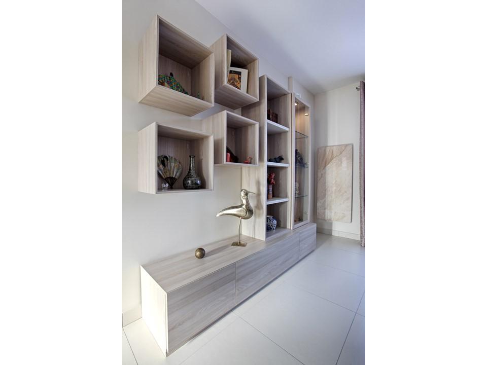 14BH-Déco rénovation décoration salon salle à manger lin bleu bois