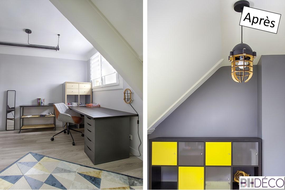 16 - Chambre d'ado, grise, bois jaune - BH-Déco