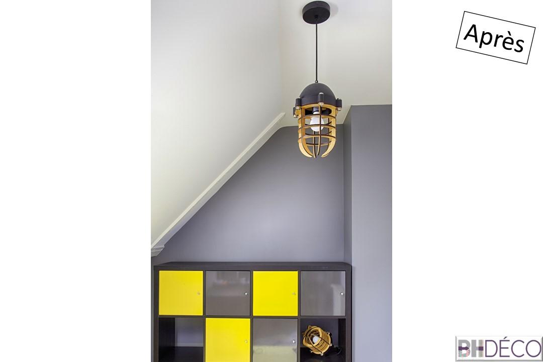 17 - Chambre d'ado, grise, bois jaune - BH-Déco