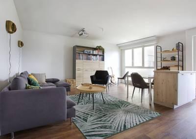 BH-Déco - Sylvie Samain - rénovation décoration appartement salon séjour Les Ulis