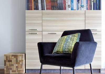 BH-Déco - Sylvie Samain - rénovation décoration séjour bibliothèque Les Ulis