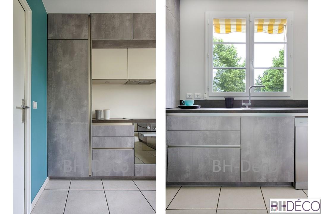BH-Déco 4, détailsdecoration d'une cuisine grise façon beton, murs bleu mer, ilot central,