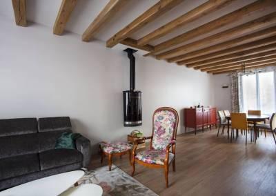 BH-Déco - Sylvie Bernard Samain rénovation complete du RdC d'une maison à Villebon sur Yvette perspective Salle à manger Poêle