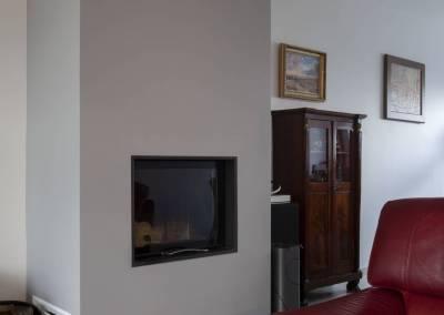 BH-Déco - Sylvie Bernard Samain rénovation complete du RdC d'une maison Levit à Mennecy cheminée intégrée