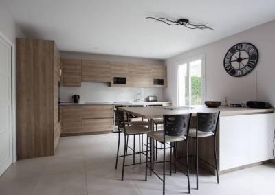 BH-Déco - Sylvie Bernard Samain rénovation complete du RdC d'une maison Levit à Mennecy ilot central