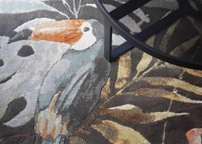 BH-Déco - Sylvie Bernard Samain rénovation complete du RdC d'une maison Levit à Mennecy tapis exotique