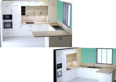 BH-Déco - Sylvie Samain - 3D Cuisine toute hauteur blanc bois naturel