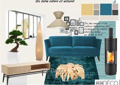 BH-Déco - Sylvie Samain - Planche salon séjour verrière turquoise bois naturel flotté