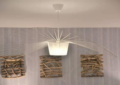 BH-Déco - Sylvie Samain - Rénovation maison accessibilité PMR Séjour lumineux papier peint cole and Son, suspension Vertigo
