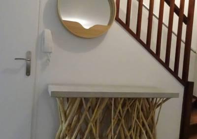 BH-Déco - Sylvie Samain - Rénovation maison accessibilité PMR console béton et bois flotté