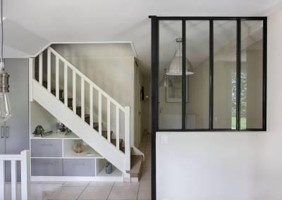 BH-Déco - Sylvie Samain, création d'un meuble sous escalier et création d'une verrière