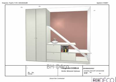 BH-Déco - Sylvie Samain, création d'un meuble sous escalier plan 3D