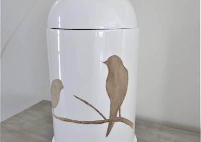 BH-Déco - Sylvie Samain - grand pot bois et laque blanche oiseau