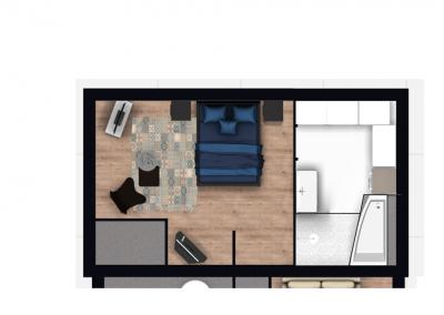 BH-Déco - Sylvie Samain - plan 2D suite parentale chambre jungle bleu vert miroirs salle de bain marbre