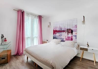 BH-Déco - Sylvie Samain - rénovation complète appartement chambre lin et rose