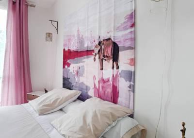 BH-Déco - Sylvie Samain - rénovation complète appartement chambre tête de lit inspiration exotique