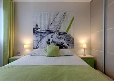 BH-Déco - Sylvie Samain, rénovation totale d'un appartement chambre parentale tête de lit