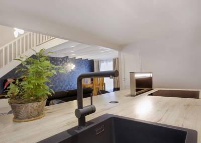 BH-Déco - Sylvie Samain, rénovation du RdC d'une grande maison, cuisine ouverte sur le salon