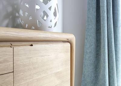 BH-Déco - Sylvie Samain - salle à manger bois chêne massif naturel luminaires porcelaine Rideaux naturels lin turquoise