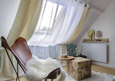 BH-Déco - Sylvie Samain - suite parentale chambre jungle bleu vert coin détente