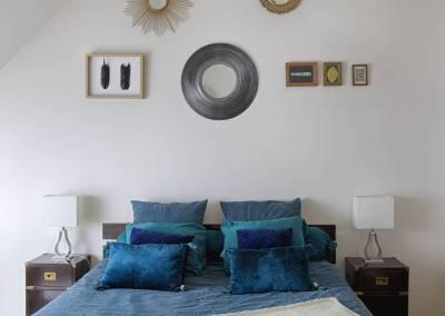 BH-Déco - Sylvie Samain - suite parentale chambre jungle bleu vert miroirs détail