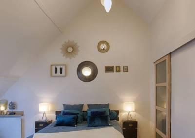 BH-Déco - Sylvie Samain - suite parentale chambre jungle bleu vert miroirs luminaires
