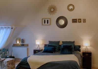 BH-Déco - Sylvie Samain - suite parentale chambre jungle bleu vert miroirs tête de lit