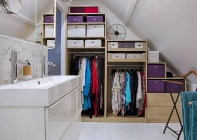 BH-Déco - Sylvie Samain - suite parentale chambre jungle salle de bain dressing marbre blanc