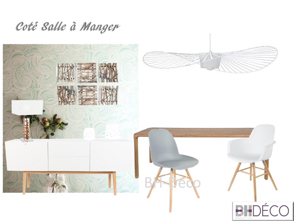 BH-Déco aménagement salle à manger naturelle beige gris blanc bois