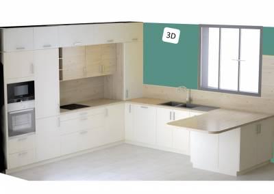 BH-Déco  - Sylvie Samain - cuisine ouverte blanc mat et bois verrière îlot central - 3D