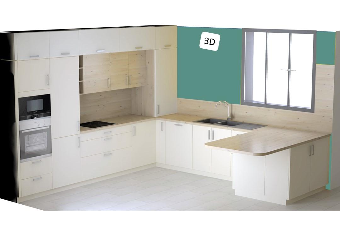 BH-Déco cuisine ouverte blanc mat et bois verriere ilot central 2