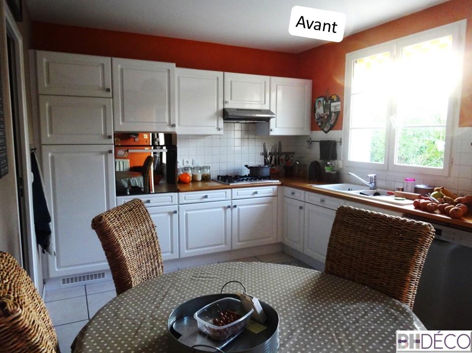 BH-Déco - ouverture rénovation cuisine meubles beton gris ilot central mur bleu 1