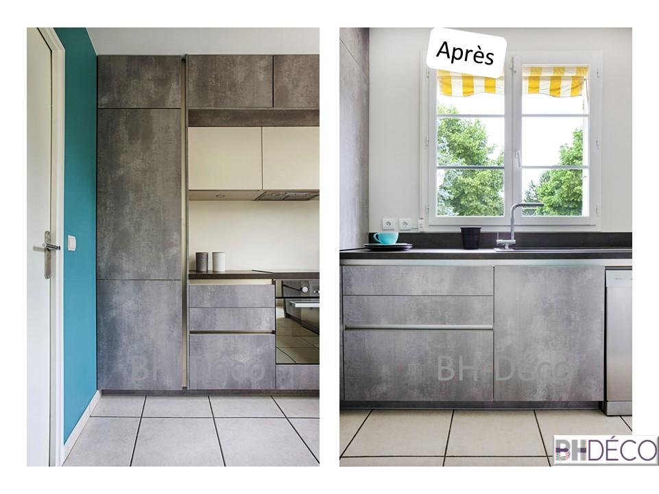 BH-Déco - ouverture rénovation cuisine meubles beton gris ilot central mur bleu 10