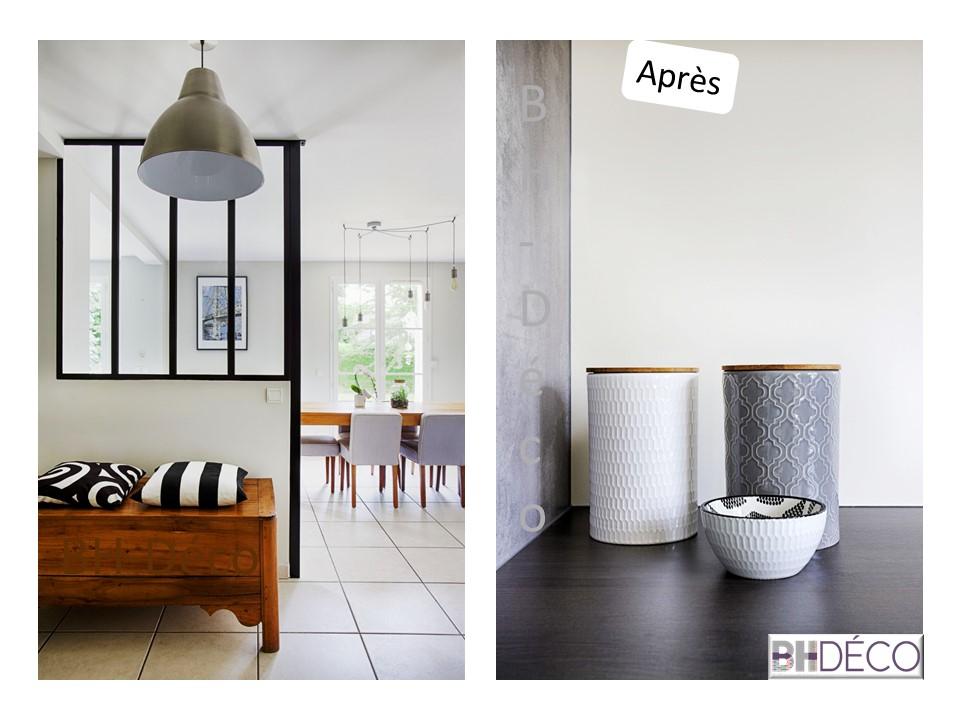 BH-Déco - ouverture rénovation cuisine meubles beton gris ilot central mur bleu 11