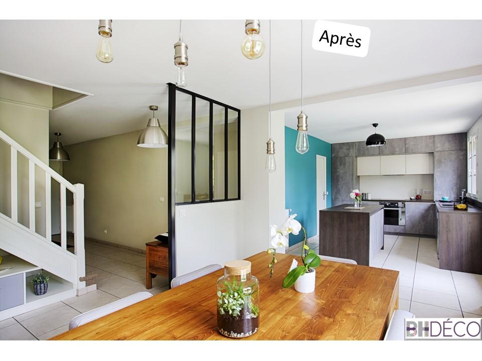 BH-Déco - ouverture rénovation cuisine meubles beton gris ilot central mur bleu 3