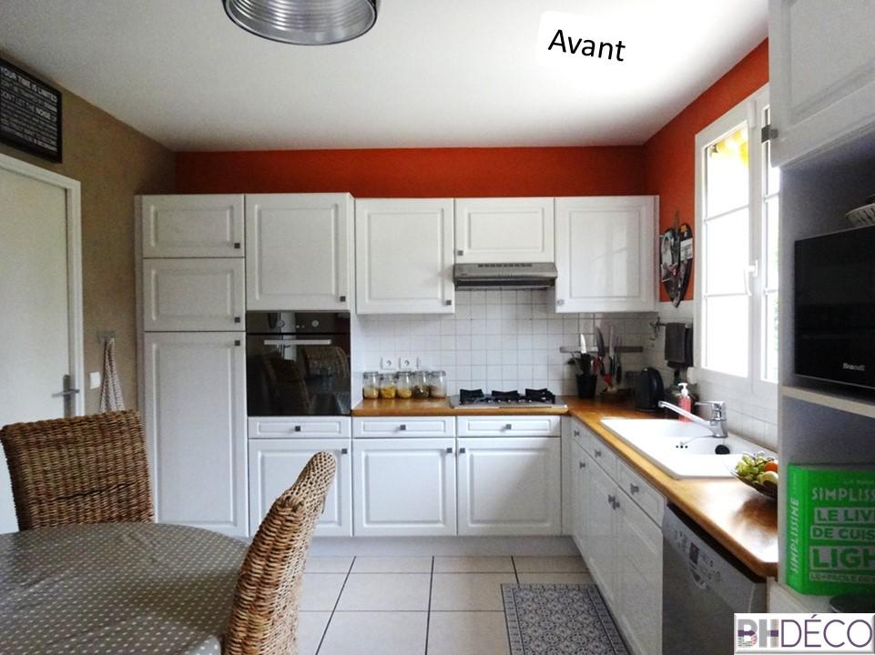 BH-Déco - ouverture rénovation cuisine meubles beton gris ilot central mur bleu 4