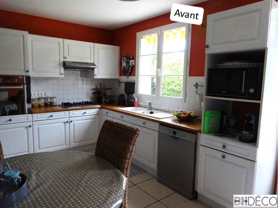 BH-Déco - ouverture rénovation cuisine meubles beton gris ilot central mur bleu 7