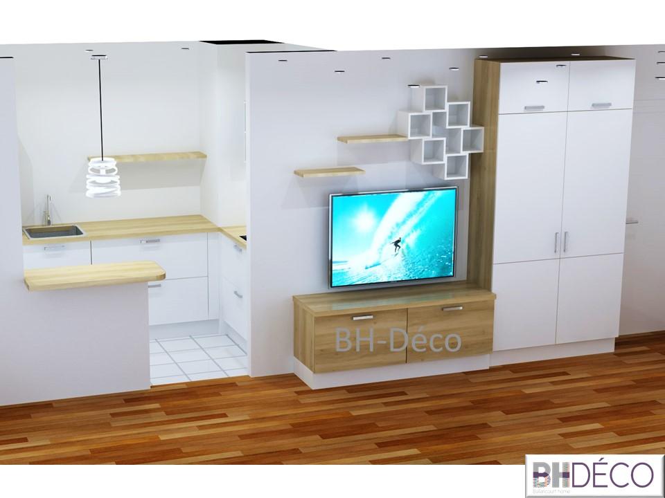BH-Déco perspective 3D cuisine et meuble télé Paris