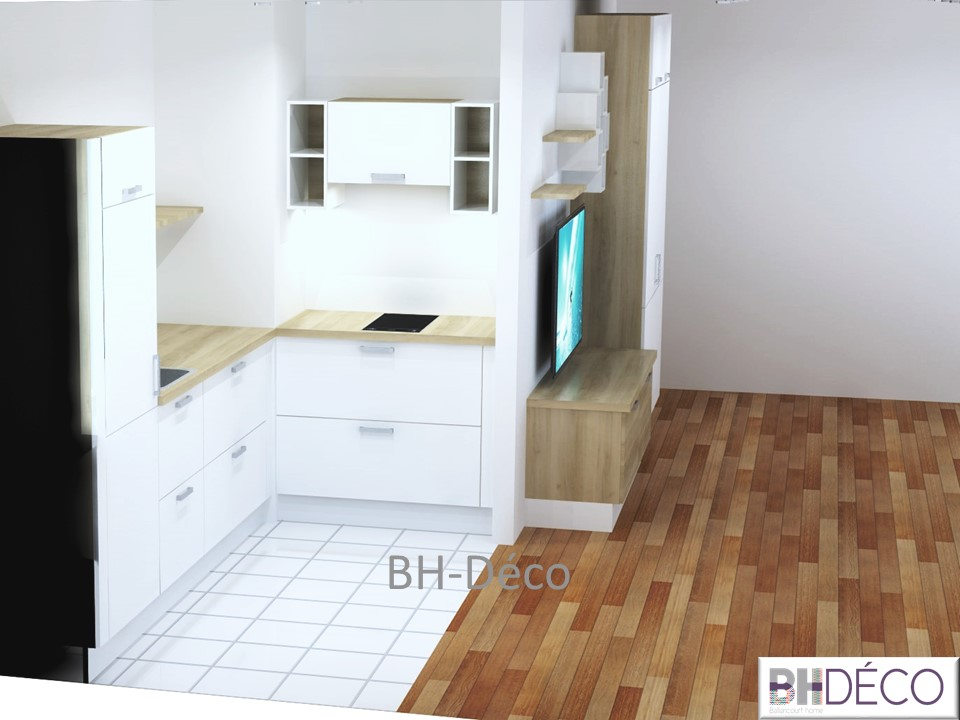 BH-Déco perspective 3D cuisine et meuble télé