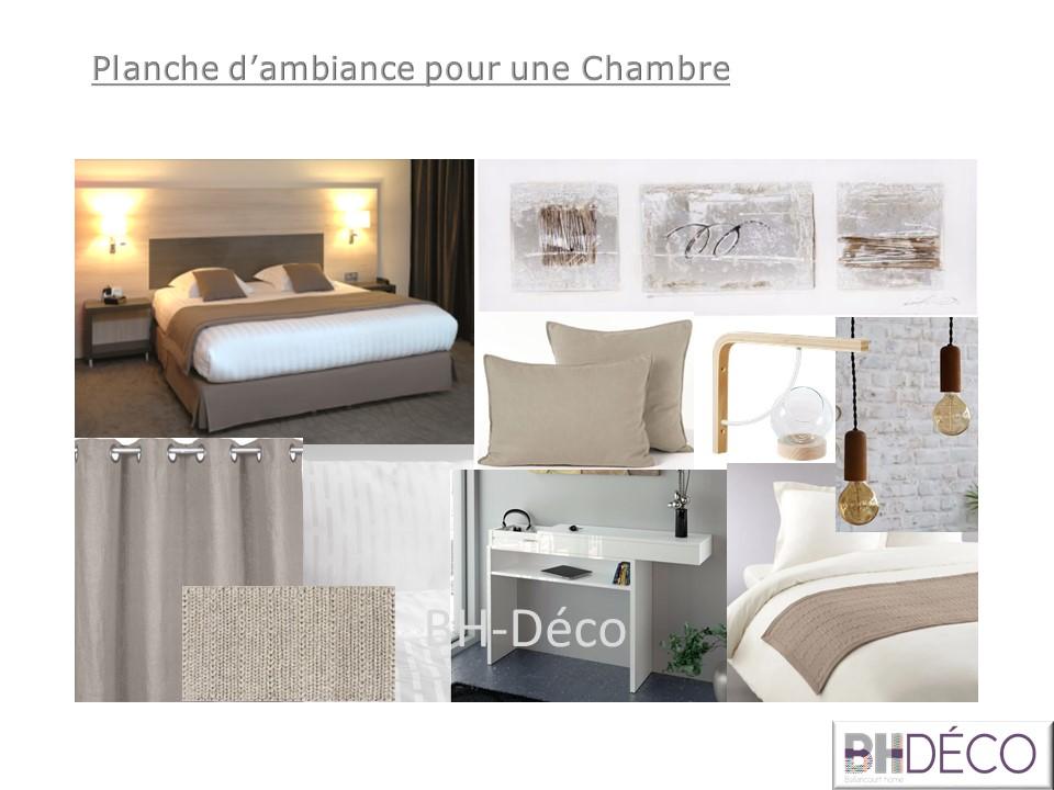 BH-Déco planche chambre claire lumineuse couleurs camaïeux de beiges naturels