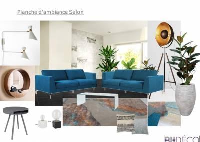 BH-Déco planche salon bleu turquoise contemporain carrelage noir lapata
