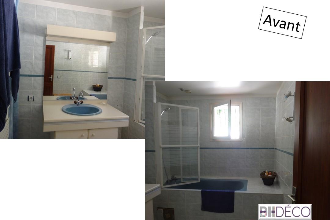 BH-Déco rénovation salle de bain carrelage gris grands carreaux 14