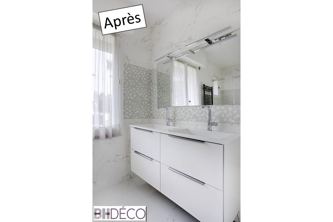 BH-Déco rénovation salle de bain carrelage marbre douche italienne 2