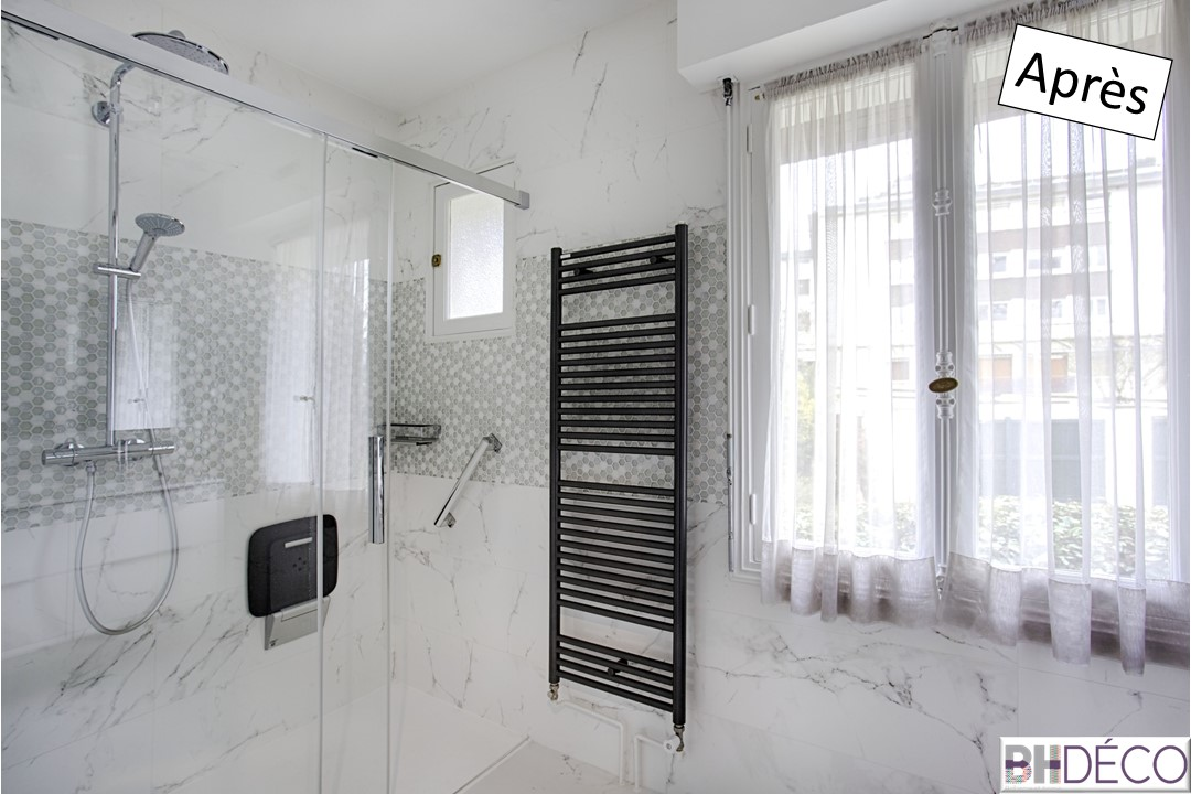 BH-Déco rénovation salle de bain carrelage marbre douche italienne 4