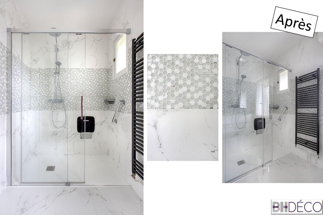 BH-Déco rénovation salle de bain carrelage marbre douche italienne 5
