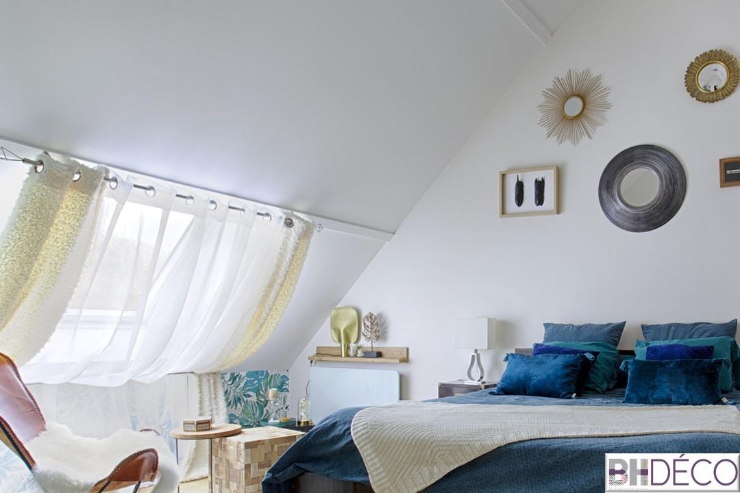 BH-Déco - suite parentale chambre jungle bleu vert miroirs salle de bain marbre 0