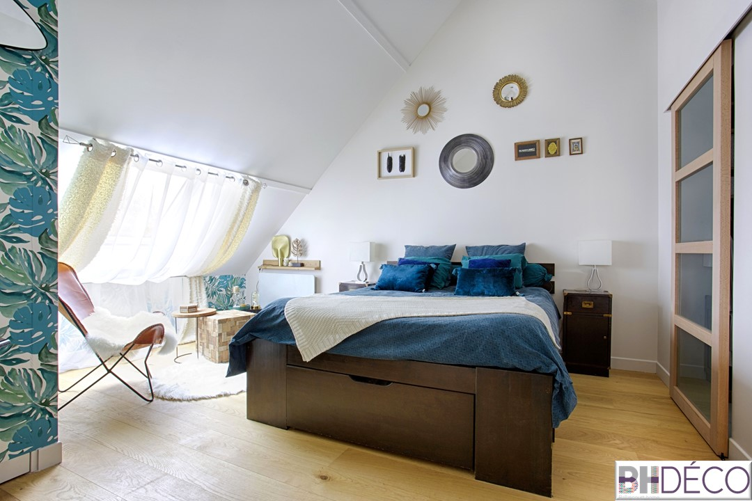 BH-Déco - suite parentale chambre jungle bleu vert miroirs salle de bain marbre 1